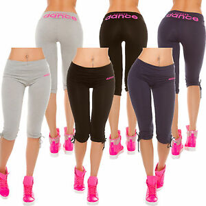 damen sport leggings sporthose hose 3 4 lang fitness mode jersey eng sexy 34 36 ebay. Black Bedroom Furniture Sets. Home Design Ideas