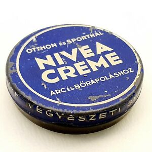 Vintage-Nivea-cream-empty-tin-box-antique-Hungarian-version-1930-039-s-Budapest-RARE