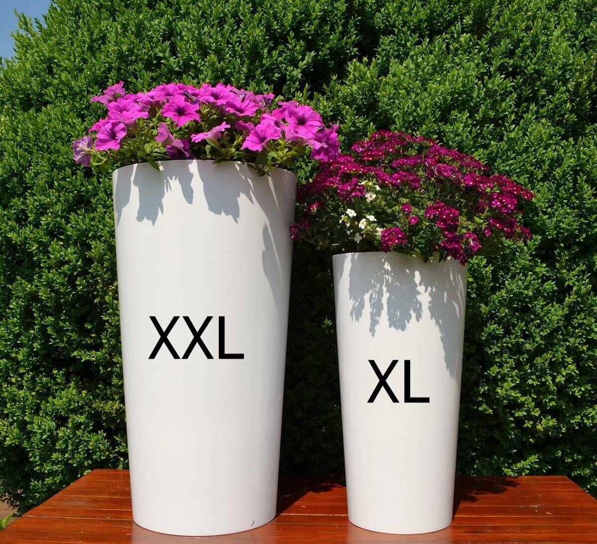 Blaumenkübel XL + XXL weiß Rund Hochglanz Blaumentopf Pflanzeinsatz Übertopf