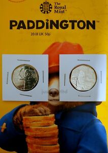 2018-Pair-of-Paddington-Bear-Fifty-pence-Coins-50p-UNC-At-Station-amp-At-Palace