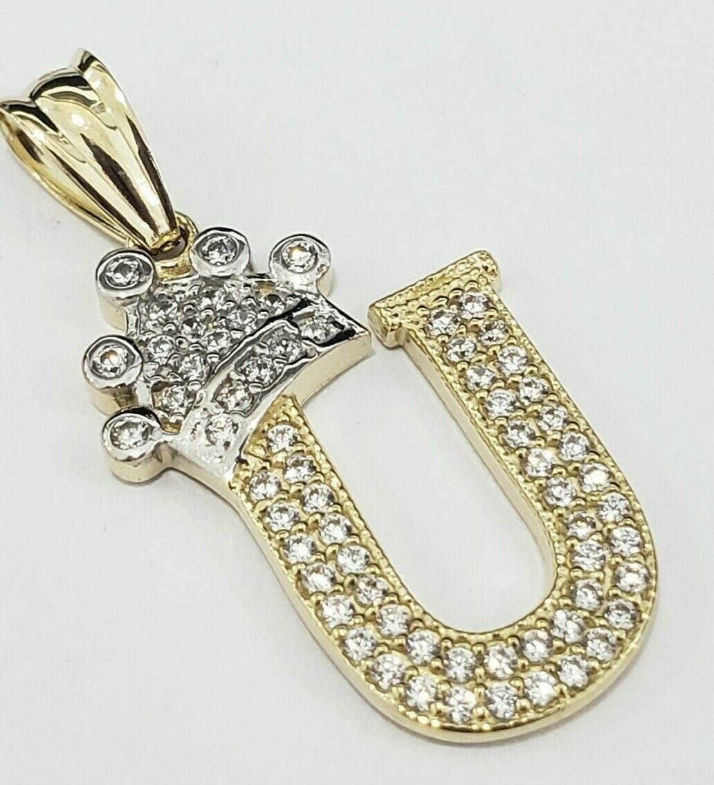 Real 14k Yellow gold Crown Initial Alphabet Letter U Pendant Charm King Iced Out
