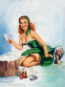 1940s Pin-Up Girl /& Cocker Spaniel Puppy Dog Vintage Pin Up Poster Print Art