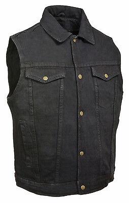 Mens Classic Front Snap Black Denim Vest with Shirt Collar & Gun Pockets