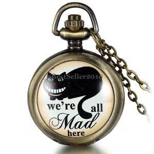 Black-Cat-we-039-re-all-mad-here-Arabic-Numerals-Quartz-Pocket-Watch-Necklace