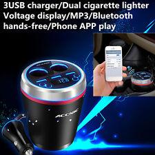 Kit de coche Bluetooth Manos libres Transmisor de FM Radio Reproductor de MP3 3 puertos USB Cargador