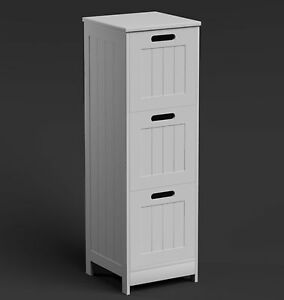 White bathroom cabinet tall 3 drawer vanity storage unit - White tall bathroom storage unit ...