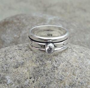 Crystal Solid 925 Sterling Silver Spinner Ring Meditation statement Ring ee05