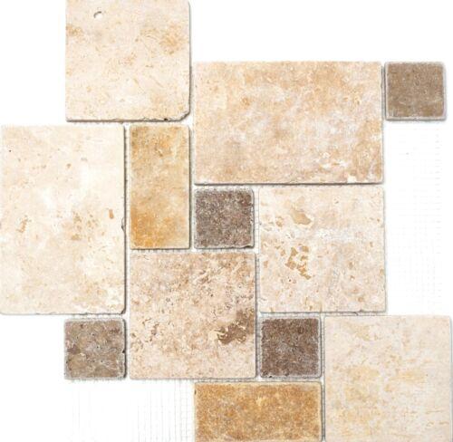 Mosaik Mini Pattern mix Travertine Fliesenspiegel Küche Art 43-120410 Matten