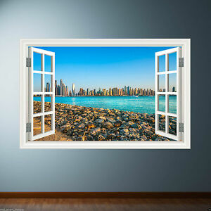 CITY SKYLINE wall art sticker window teenagers bedroom decal graphic print WSD30