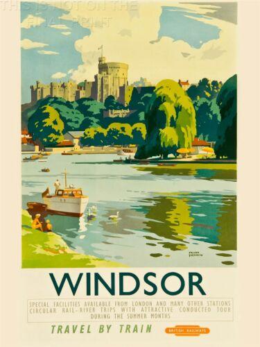 PRINT TRAVEL TOURISM WINDSOR CASTLE THAMES RIVER BOAT ROYAL SEAT UK NOFL1268