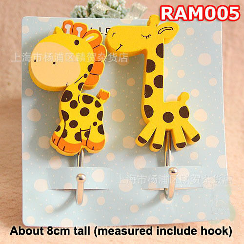 Giraffe Key Hat Bag Coat Wall Door Wooden Hanger Adhesive Sticky Hooks RAM005