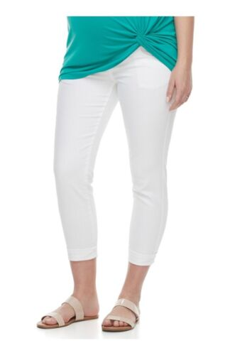A Glow Maternity Belly Panel Faded White Capri Jeans NWT Multi Sizes Run Small