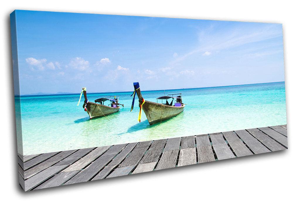 Andaman Boat Thailand  Sunset Seascape SINGLE TOILE murale ART Photo Print