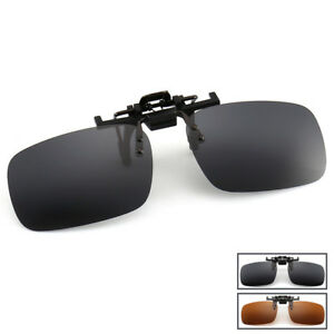 2cc79d6ecf7 Image is loading Glasses-Clip-On-Sunglasses-Metal-Frame-Night-Vision-
