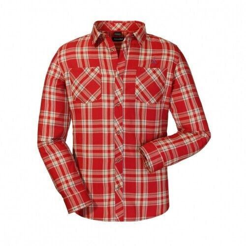 SCHÖFFEL Maastricht 2 Uomo Camicia uomoica Lunga Uomo Rosso Camicia all'aperto all'apertohemd