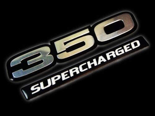 VMS 1 CHEVY 350 SUPERCHARGED ENGINE ALUMINUM EMBLEMS SILVER BLACK SBC V8 BLOCK