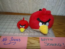 "Lot of 2 Angry Birds 5"" red (Sound) 3"" red pencil topper, finger puppet (no Sou)"