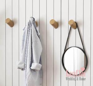 Solid-Oak-Walnut-Wooden-Wall-Hook-Peg-Hat-Coat-Hanger-Hallway-Storage-BlackWhite