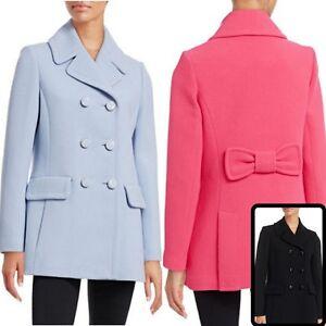 NWT-Kate-Spade-New-York-Women-039-s-Bow-Back-Wool-Blend-Classic-Peacoat-Jacket