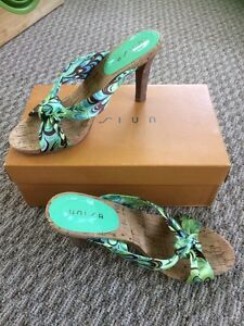1b6273e3bf0 Women s Unisa Blue Green And Brown Sandal High Heels DSW 8 M