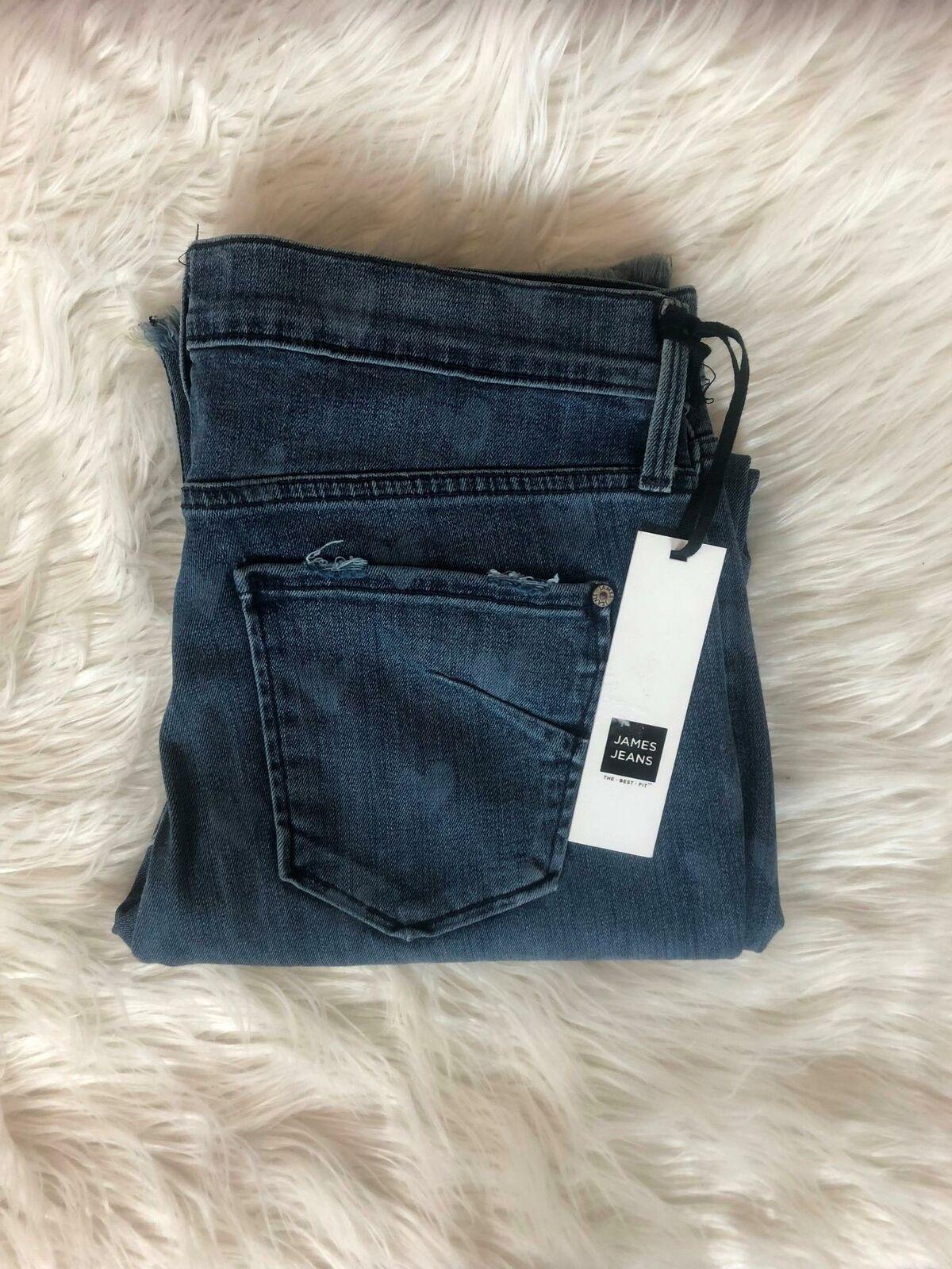 James Jeans Women's Size 30 Heart Printed Distressed Buddy Raw Hem Jeans CB58