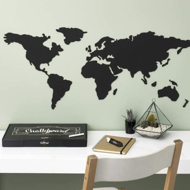 Pizarra Mapa Del Mundo por Luckies Cocina Infantil Nota Adhesivo Pared Tiza
