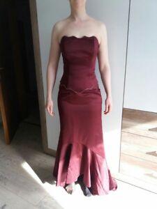 Abiballkleid Designer Abendkleid Kleid lang rot weinrot m ...