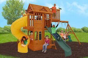 Play Set Cedar Wooden Playground Swing Set Twist Slide Fort Climbing