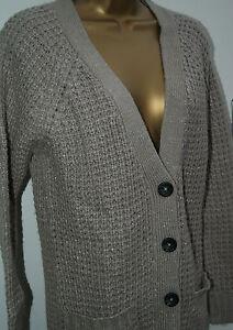 Womens Ladies Long Sleeve Crochet Knitted Waterfall Open Cardigan Top Size 10-20