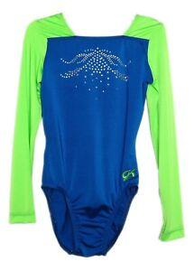 AXS Adult Extra Small 3956 GK Elite Jeweled Chartreuse//Blue Gymnastics Leotard