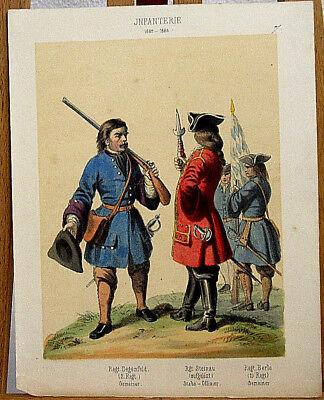 """Original Lithographie """"das Bayerische Heer Infanterie 1682/88"""" Ludwig Behringer Keine Kostenlosen Kosten Zu Irgendeinem Preis"""