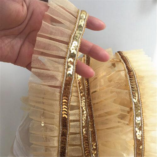 2yds Gold Sequins Lace Trim Gauze Ruffle Ribbon Fabric Costume DIY Craft
