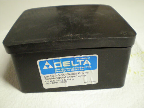 """Delta 43-001 Wedge Groove Carbide Tipped Shaper Cutter 1-1//4/"""" Hole 1/"""" Bushing"""