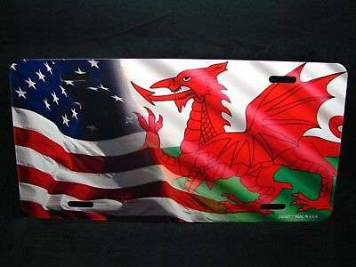 WALES  FLAG METAL NOVELTY LICENSE PLATE TAG FOR CARS   Welsh Dragon