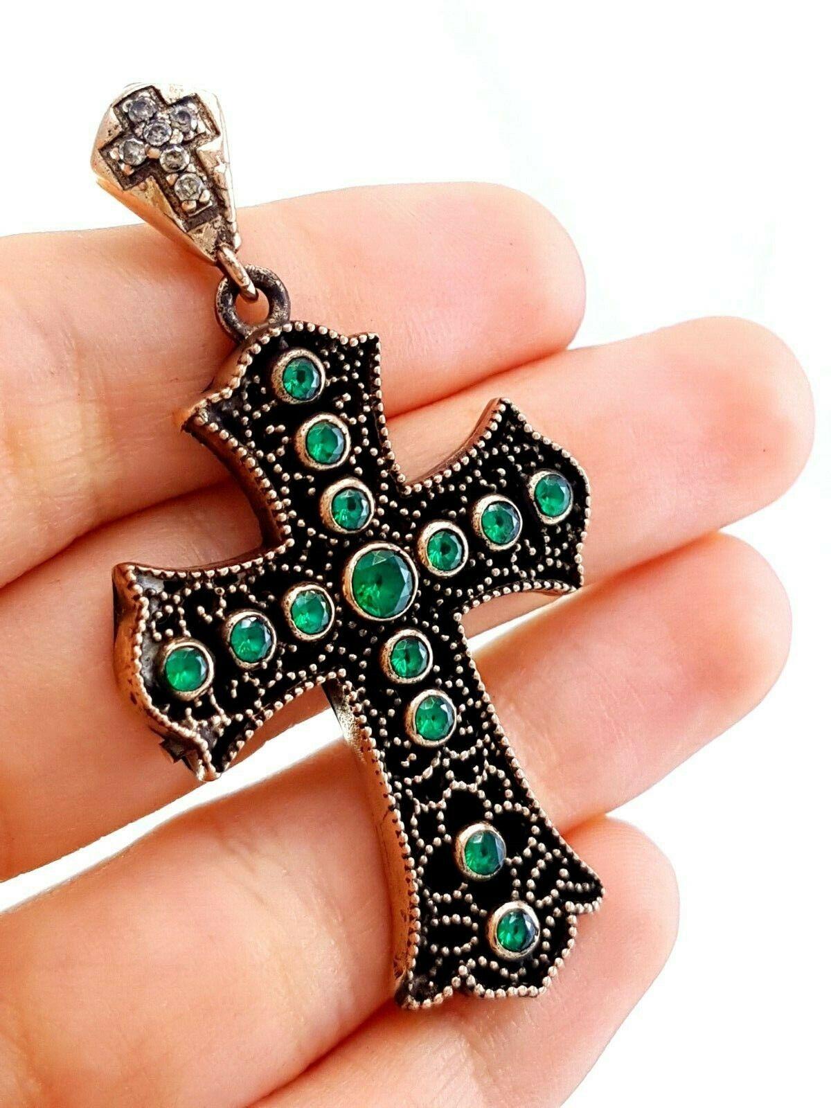 Turkish Handmade Jewelry 925 Sterling Silver Emerald Holy Cross Pendant B10