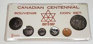 1967 Canada Retro Vintage Holder 6 Coin Set Includes Silver White