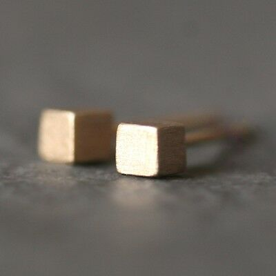 Michelle Chang: Tiny Cube Stud Earrings in 14k Gold