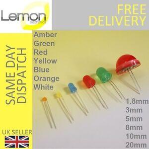 Diffusa-LED-1-8mm-3mm-5mm-8mm-10mm-20mm-Rosso-Blu-Bianco-Verde-Giallo-Arancione