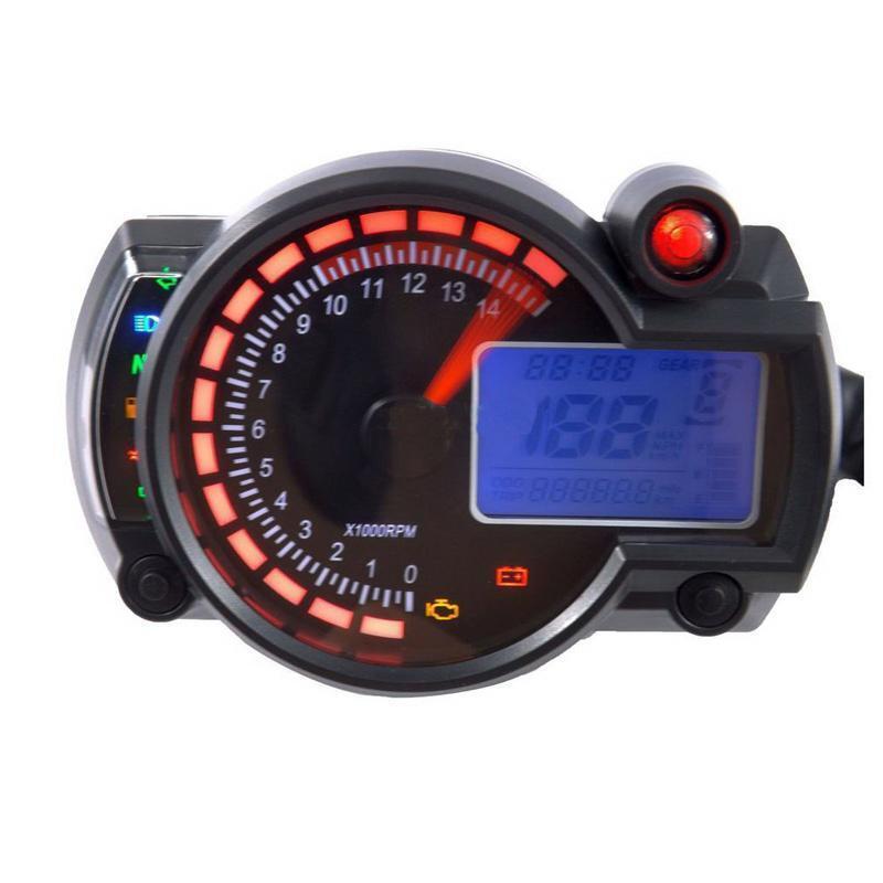 Digital Odometer Gauge : Motorcycle universal lcd digital speedometer tachometer