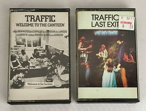 Lot-of-2-TRAFFIC-Cassette-Tapes-Welcome-to-the-Canteen-Last-Exit