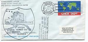 Uscgc Storis Wmec-38 Seattle Kodiak Alaska Aerogramme Polar Arctic Cover Signed Chaud Et Coupe-Vent
