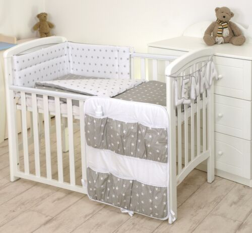 STARS ON GREY//PINK  BABY BEDDING SET MORE DESIGNS COT or COT BED 2,3,4,5,7 pc