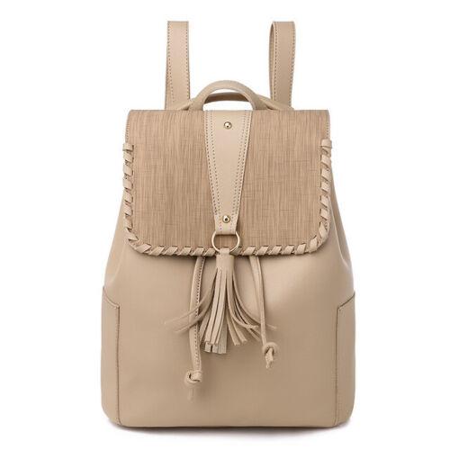 Women Backpack Solid Travel Satchel Girl PU Leather Rucksack Shoulder Bag School