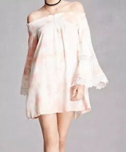 d9c0de5f77d Boho Me Coral Tie Dye Off The Shoulder Mini Dress Crochet Long Bell ...