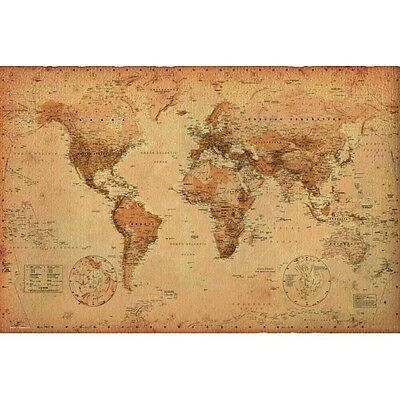 *NEW* Educational Children's WORLD MAP ANTIQUE STYLE - Chart Wall Poster
