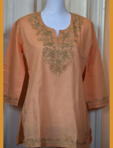 Brown-Embroidered-Peach-Color-Cotton-Tunic-Top-Kurti-from-India-Medium