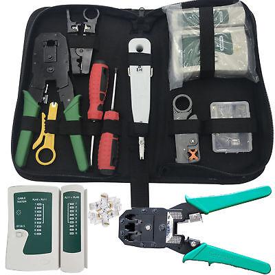Rj45 Cavo Di Rete Ethernet Tester Crimpare Crimper Stripper Tool Kit Set Nuovo Regno Unito-