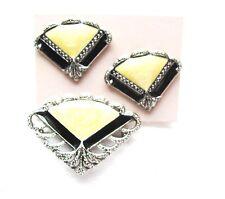 Vintage Brooch & Pierced Earring Set Yellow Enamel w Silver Tone Texture  Fans