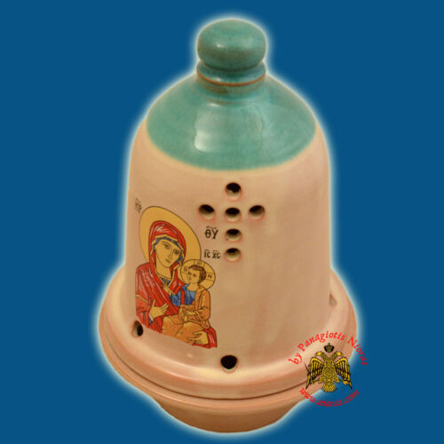 Orthodox Ceramic Traditional Bell Dome Oil Candle 5 Colours Made in Greece