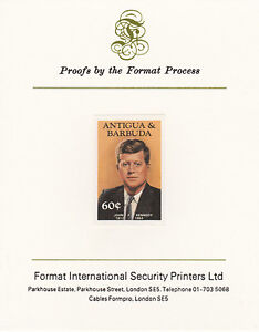 Antigua 4266 - 1984 KENNEDY 60c imperf on Format International PROOF CARD